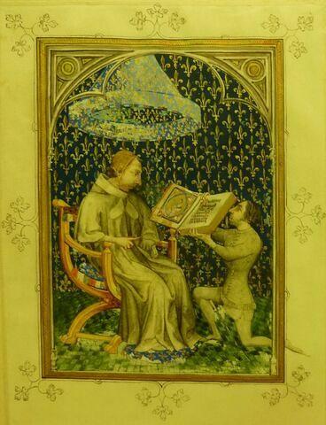 Portrait du roi de France, Charles V, recevant une bible