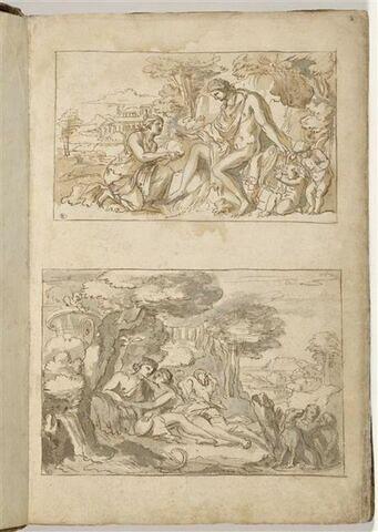 Deux 'compositions encadrées' : en haut Apollon et une nymphe ; en bas,...