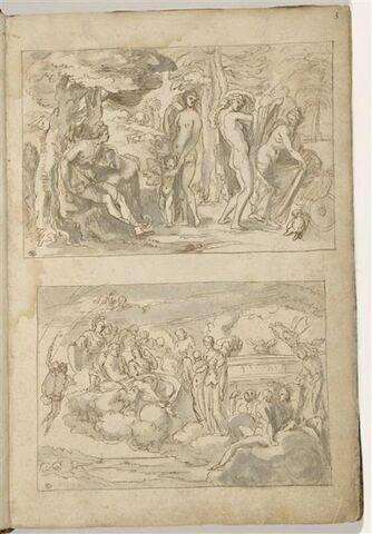 Deux 'compositions encadrées' : en haut, le jugement de Pâris; en bas,...