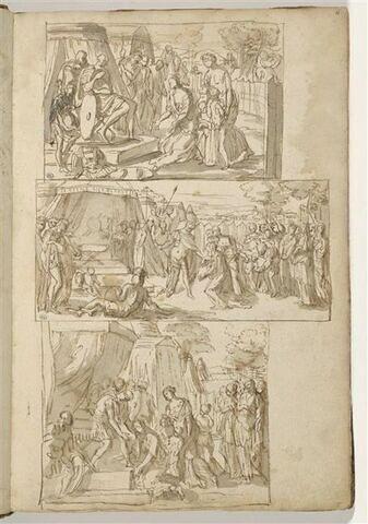 Coriolan supplié par sa mère et sa femme ; Deux autres versions du même...