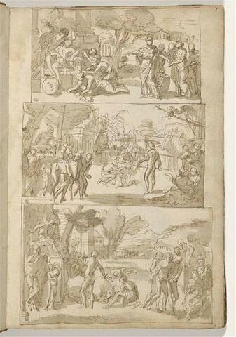 Trois 'compositions encadrées' et superposées : sujets mythologiques ou...