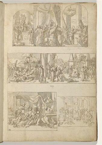 Sept 'compositions encadrées' : trois sujets de Vierge à l'Enfant entourée..