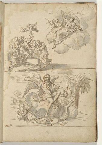 Trois compositions : Sainte Famille entourée d'anges ; Dieu le Père sur...