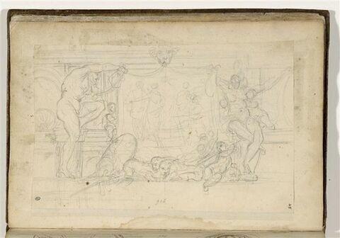 Etude de panneau décoratif entouré de figures