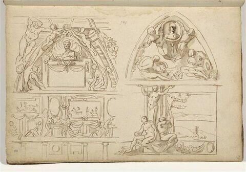 Quatre études de motifs décoratifs