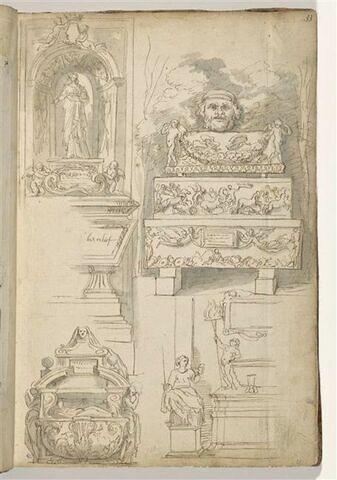 Tombeau de la princesse Mathilde ; empilement de sarcophages antiques ; ...