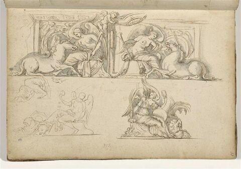 Quatre études de motifs décoratifs : figures féminines ailées assises ...