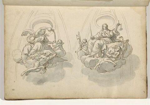 Deux fragments de coupole avec allégories de la Tempérance et de la Justice
