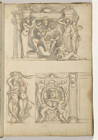Trois études de motifs décoratifs avec termes, ignudi, putti et couple de...