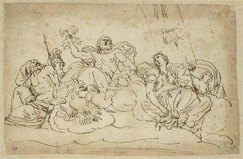 Jupiter entouré des dieux de l'Olympe