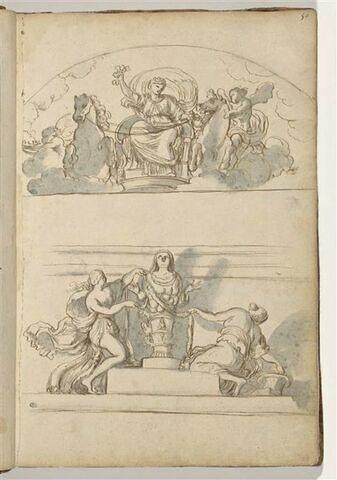Le Char de Cérès ; Deux Vestales ornant la statue d'Artémis d'Ephèse