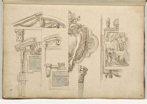 Etudes de motifs architecturaux et décoratifs : frontons, armoiries...