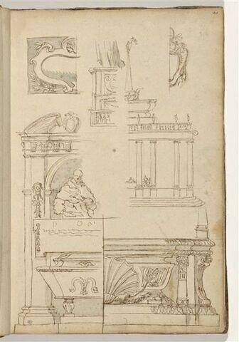 Etudes de motifs architecturaux et décoratifs : monument à colonnes...