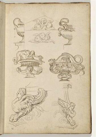 Vases, putti et socles à décors de sphinges