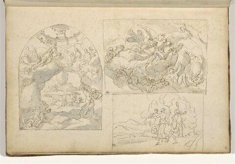 Trois 'compositions encadrées' : La Chute des Géants ; l'Aurore et Psyché...