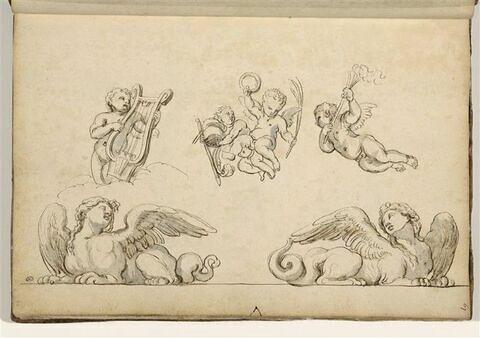 Deux harpies et trois études de putti