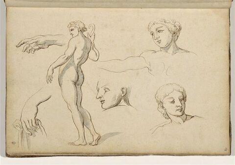 Etudes de visages, de mains et d'homme nu