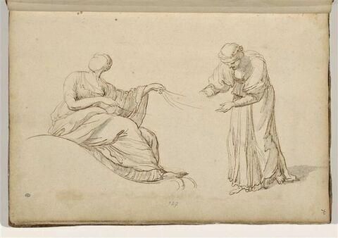 Deux études de figures : femme assise dans une nacelle, tenant des rênes...