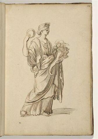 Femme debout, de trois quarts à droite, tenant une corne d'abondance et...