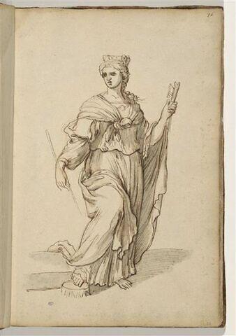 Femme debout, de trois quarts à droite, la tête tournée vers la gauche, ...