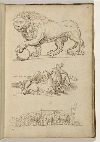 Lion, la patte posée sur une boulle, d'après l'antique ; quadrige...