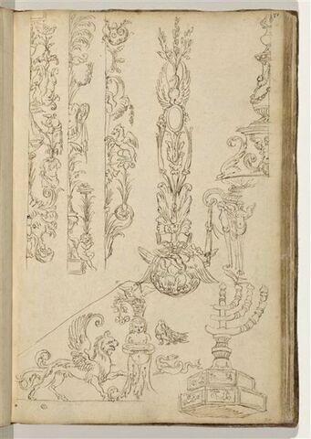 Etudes de motifs décoratifs et de candélabres
