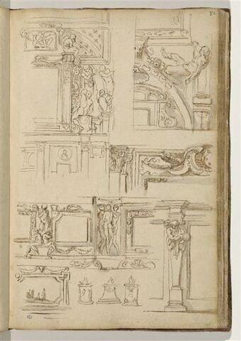 Etudes de motifs décoratifs avec Ignudi et atlantes