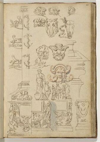 Etudes de motifs décoratifs : colonnes avec proues de galères, mascarons,...