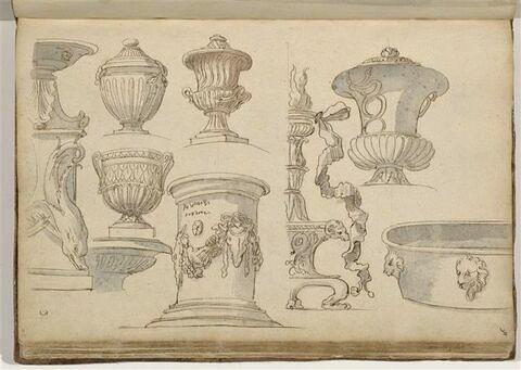 Etudes de motifs décoratifs : vases, cuve, autel et candélabres