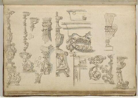 Etudes de motifs décoratifs: candélabres, mascarons, cuve, entrelac et vases