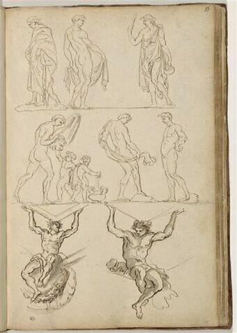 Etudes de six figures masculines dont deux accompagnées de putti ; deux ...