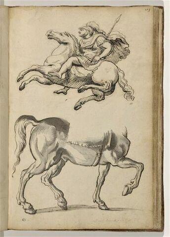 Cavalier en cuirasse de profil à gauche ; cheval de profil à droite