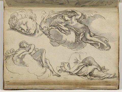 Etudes de figures sur les nuages ; reprise de la tête ; figure drapée...