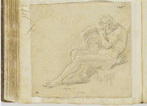 Figure allégorique d'un Fleuve, assise et tournée vers la gauche