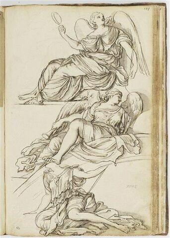 Trois études féminines dont deux ailées, assises et tournées vers la gauche