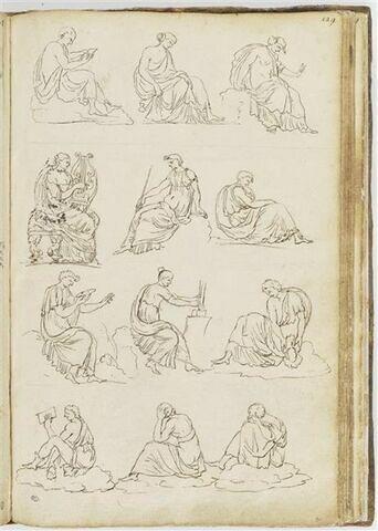 Douze études de figures assises, disposées sur quatre registres