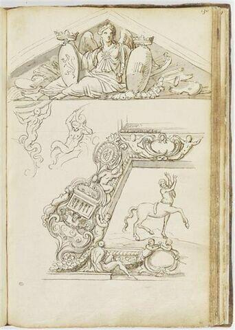 Fronton triangulaire avec figure féminine assise tenant deux écussons ; ...