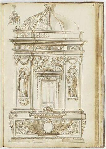 Façade de tabernacle avec une cuve au premier plan