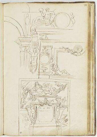 Etudes de motifs décoratifs et d'une façade de tombeau de guerrier