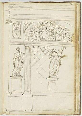 Façade de tabernacle avec deux statues de sainte Véronique et du Christ...