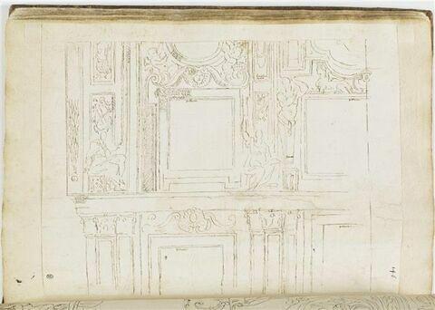 Etudes de motifs décoratifs avec figures assises, atlantes et sphinx