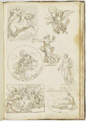 'Compositions encadrées' et études de figures : de haut en bas, Apollon...