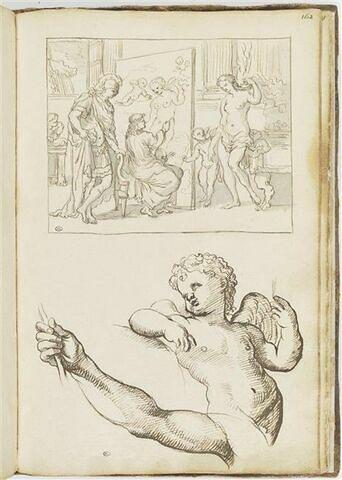 Alexandre, Apelle et Campaspe ; putto tourné vers la gauche ; étude...