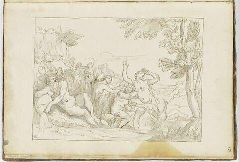 Scène mythologique avec trois nymphes, un Fleuve et un oiseau