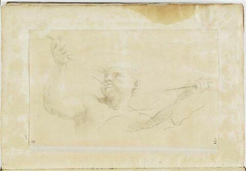 Figure en buste soufflant dans une trompette ; Etude de bras tenant une ...