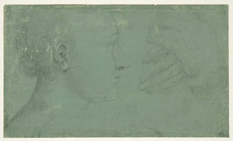 Profil de jeune fille, et étude de deux  mains posées l'une sur l'autre