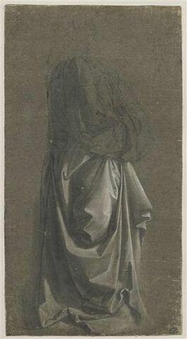 Figure debout, de profil, drapée