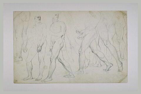 Feuille d'études d'un homme nu, avançant vers la gauche
