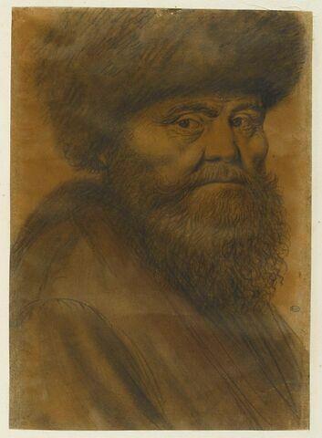 Homme coiffé d'un bonnet de fourrure