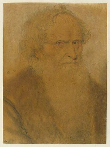 Personnage, à longue barbe, vu de trois quarts à droite